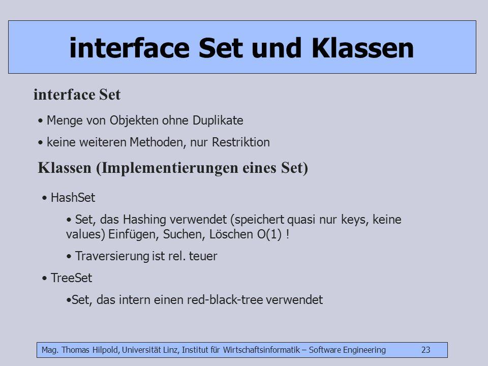Mag. Thomas Hilpold, Universität Linz, Institut für Wirtschaftsinformatik – Software Engineering 23 interface Set und Klassen Menge von Objekten ohne