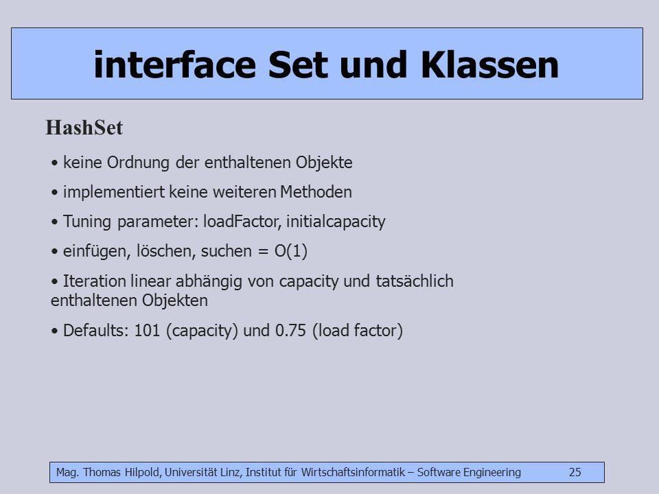 Mag. Thomas Hilpold, Universität Linz, Institut für Wirtschaftsinformatik – Software Engineering 25 interface Set und Klassen HashSet keine Ordnung de