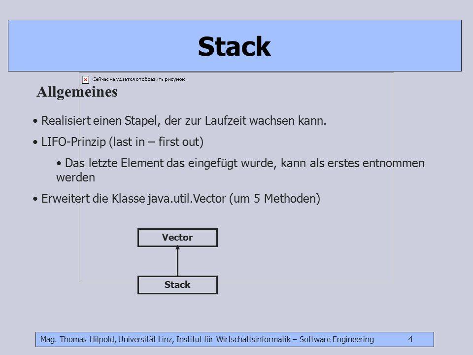 Mag. Thomas Hilpold, Universität Linz, Institut für Wirtschaftsinformatik – Software Engineering 4 Stack Allgemeines Realisiert einen Stapel, der zur
