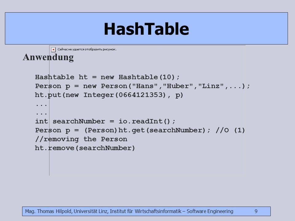 Mag. Thomas Hilpold, Universität Linz, Institut für Wirtschaftsinformatik – Software Engineering 9 HashTable Anwendung Hashtable ht = new Hashtable(10