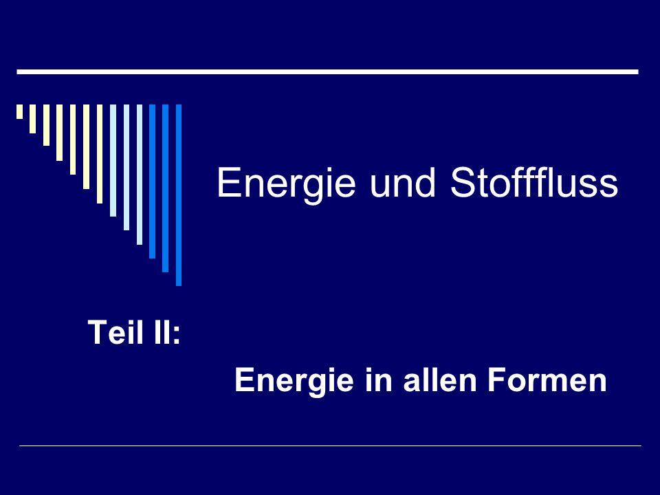 Energie und Stofffluss Teil II: Energie in allen Formen