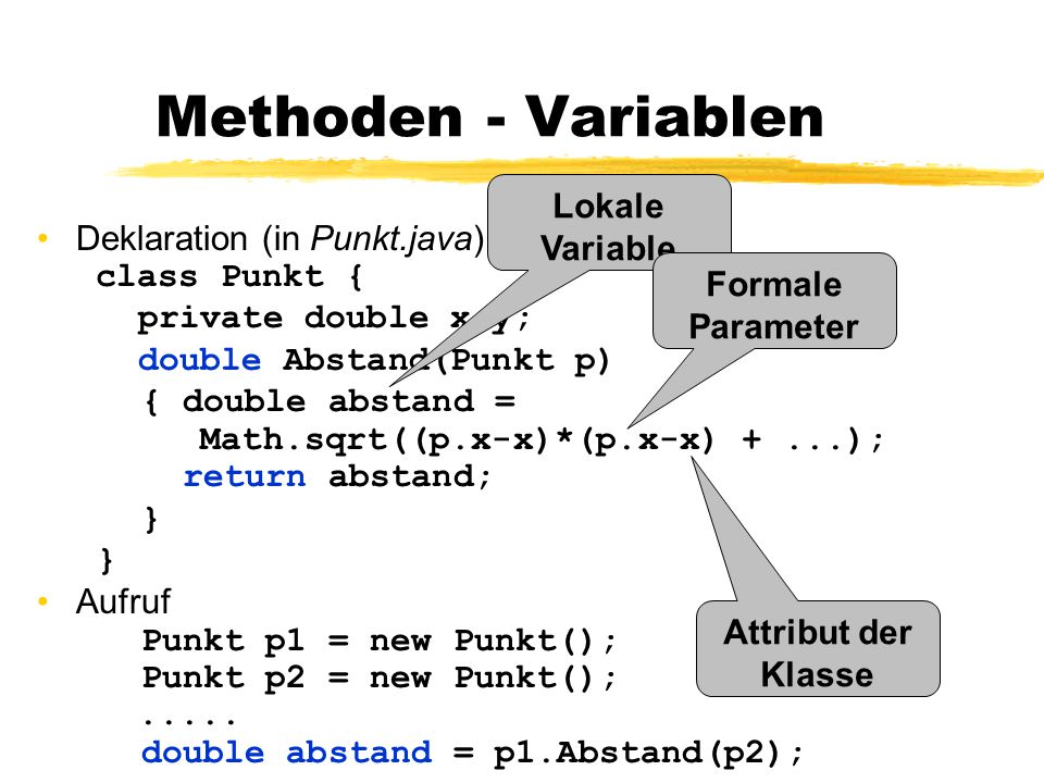 Methoden - Variablen Deklaration (in Punkt.java) class Punkt { private double x,y; double Abstand(Punkt p) { double abstand = Math.sqrt((p.x-x)*(p.x-x