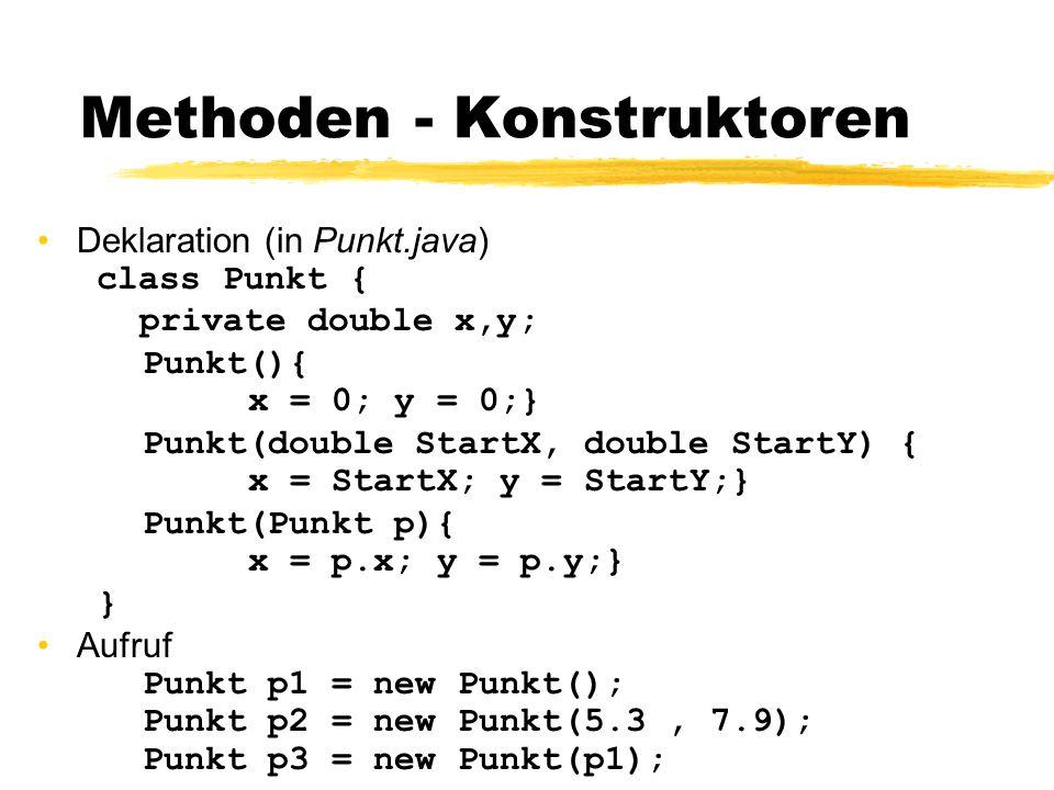 Methoden - Konstruktoren Deklaration (in Punkt.java) class Punkt { private double x,y; Punkt(){ x = 0; y = 0;} Punkt(double StartX, double StartY) { x