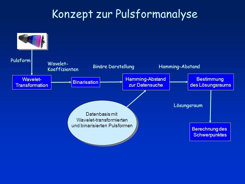 Konzept zur Pulsformanalyse Wavelet- Transformation Datenbasis mit Wavelet-transformierten und binarisierten Pulsformen Datenbasis mit Wavelet-transformierten und binarisierten Pulsformen Hamming-Abstand zur Datensuche Bestimmung des Lösungsraums Berechnung des Schwerpunktes Binarisation Wavelet- Koeffizienten Binäre Darstellung Lösungsraum Hamming-Abstand Pulsform