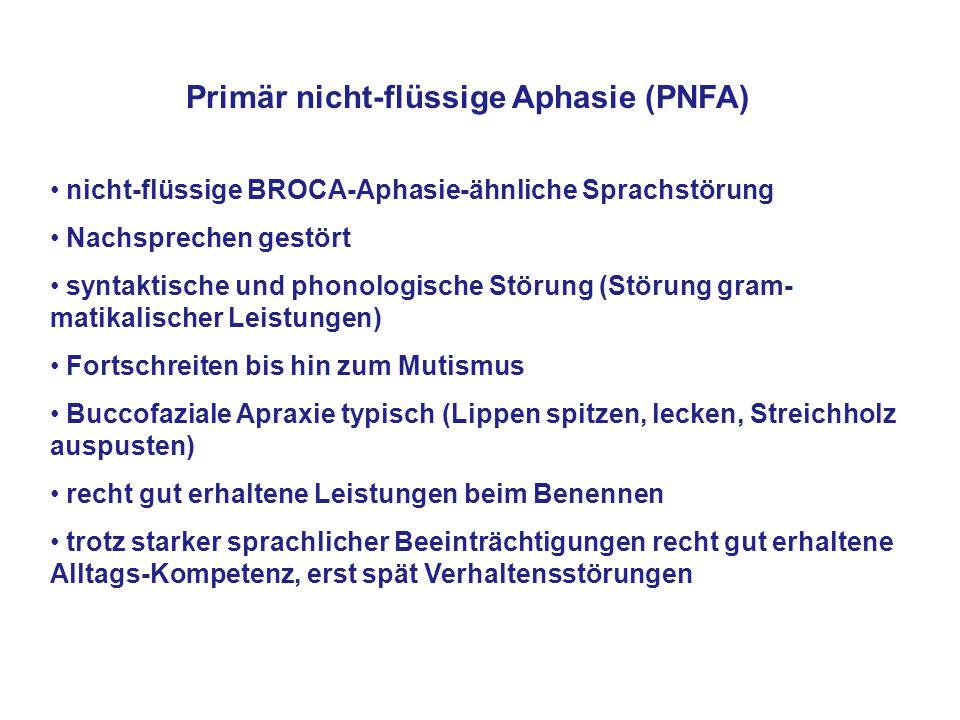 Primär nicht-flüssige Aphasie (PNFA) nicht-flüssige BROCA-Aphasie-ähnliche Sprachstörung Nachsprechen gestört syntaktische und phonologische Störung (
