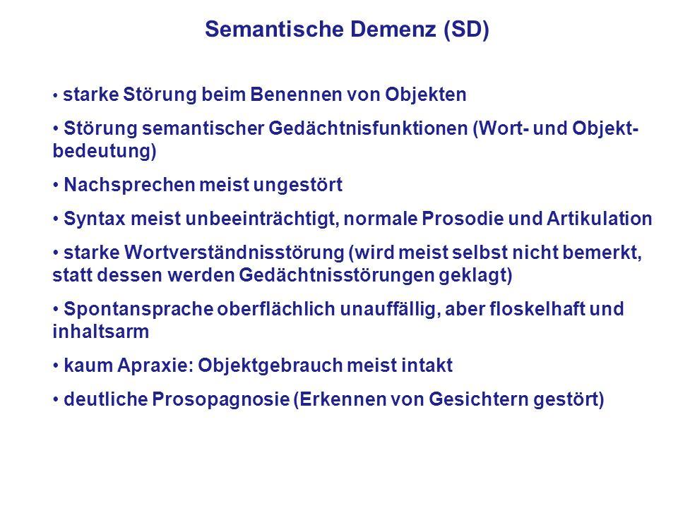 Semantische Demenz (SD) starke Störung beim Benennen von Objekten Störung semantischer Gedächtnisfunktionen (Wort- und Objekt- bedeutung) Nachsprechen