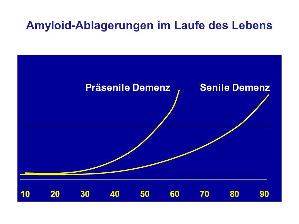 Amyloid-Ablagerungen im Laufe des Lebens 102030405060708090 Präsenile DemenzSenile Demenz