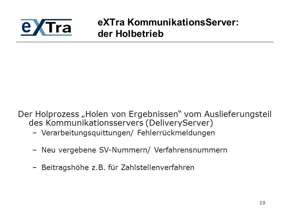 """19 eXTra KommunikationsServer: der Holbetrieb Der Holprozess """"Holen von Ergebnissen"""" vom Auslieferungsteil des Kommunikationsservers (DeliveryServer)"""