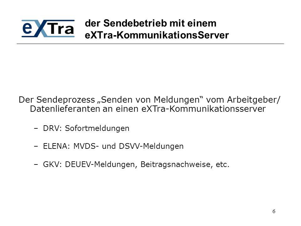 """6 der Sendebetrieb mit einem eXTra-KommunikationsServer Der Sendeprozess """"Senden von Meldungen"""" vom Arbeitgeber/ Datenlieferanten an einen eXTra-Kommu"""