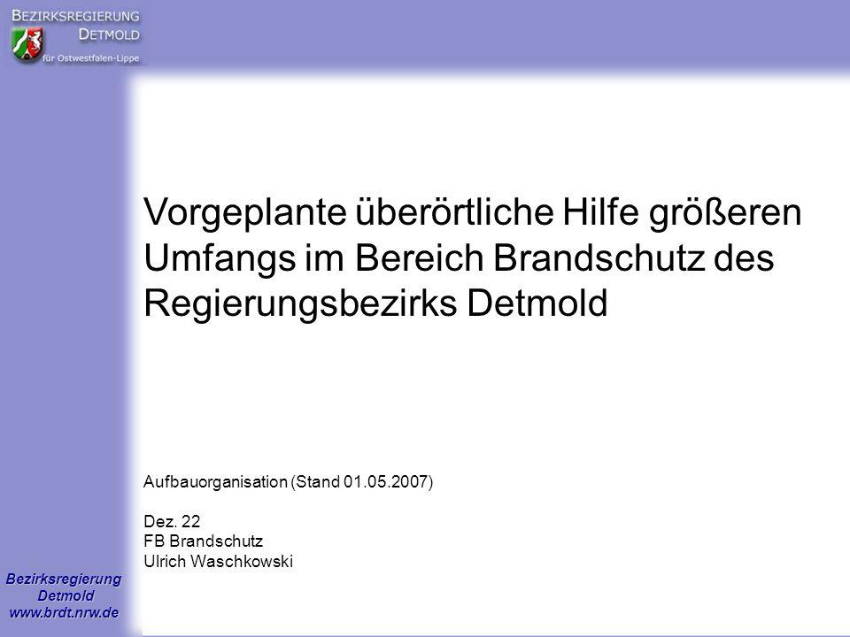 Bezirksregierung Detmold www.brdt.nrw.de Aufbauorganisation (Stand 01.05.2007) Dez. 22 FB Brandschutz Ulrich Waschkowski Vorgeplante überörtliche Hilf