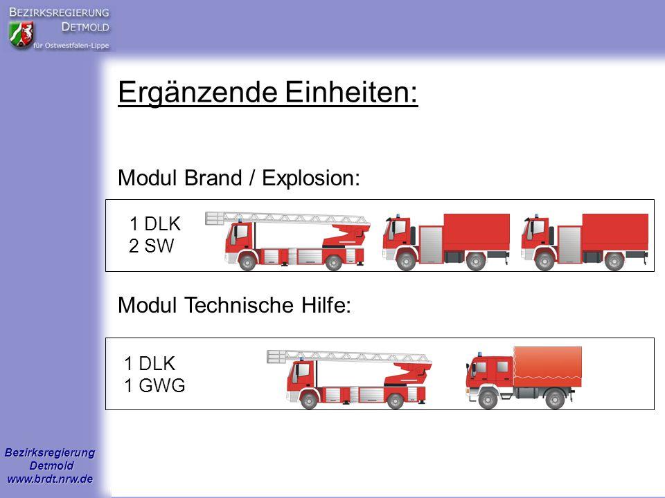 Bezirksregierung Detmold www.brdt.nrw.de Ergänzende Einheiten: 1 DLK 2 SW 1 DLK 1 GWG Modul Brand / Explosion: Modul Technische Hilfe: