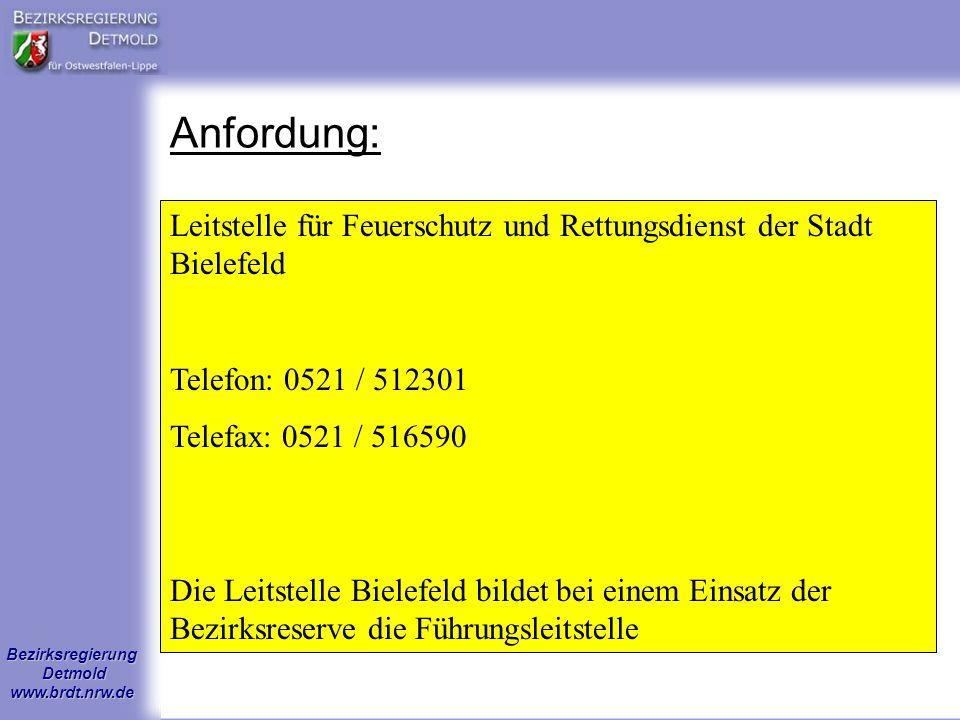 Bezirksregierung Detmold www.brdt.nrw.de Anfordung: Leitstelle für Feuerschutz und Rettungsdienst der Stadt Bielefeld Telefon: 0521 / 512301 Telefax: