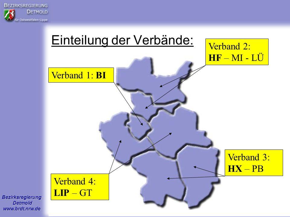 Bezirksregierung Detmold www.brdt.nrw.de Einteilung der Verbände: Verband 1: BIVerband 2: HF – MI - LÜ Verband 3: HX – PB Verband 4: LIP – GT