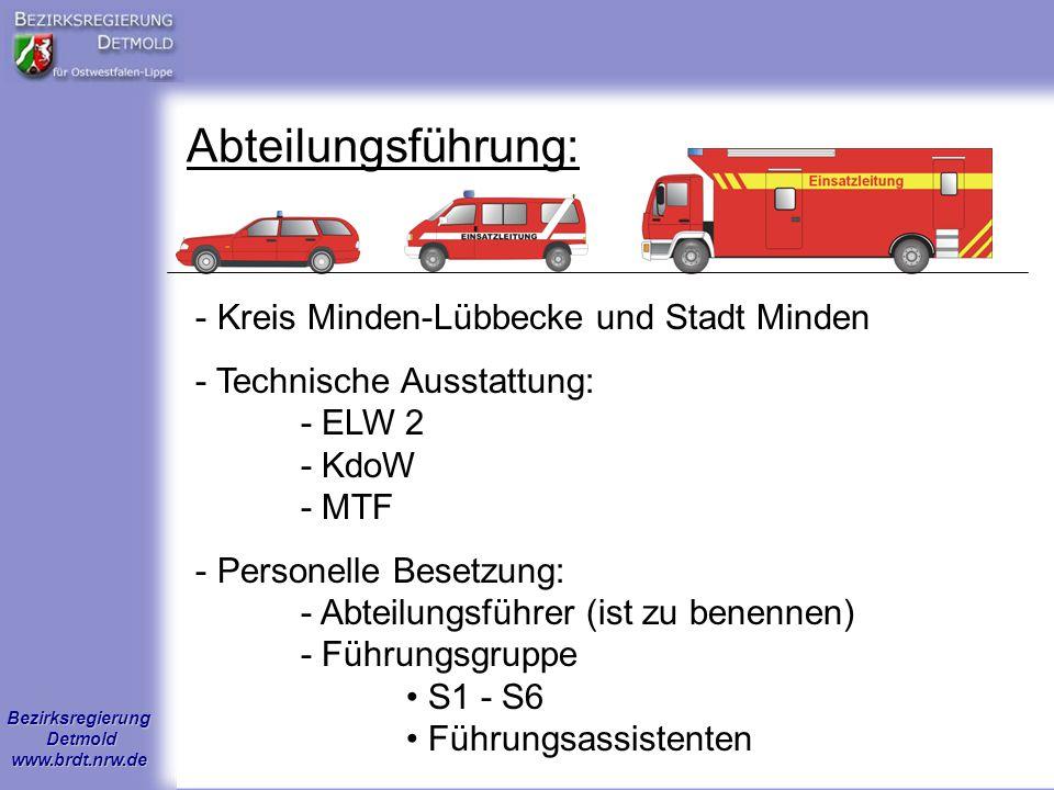 Bezirksregierung Detmold www.brdt.nrw.de Abteilungsführung: - Kreis Minden-Lübbecke und Stadt Minden - Technische Ausstattung: - ELW 2 - KdoW - MTF -