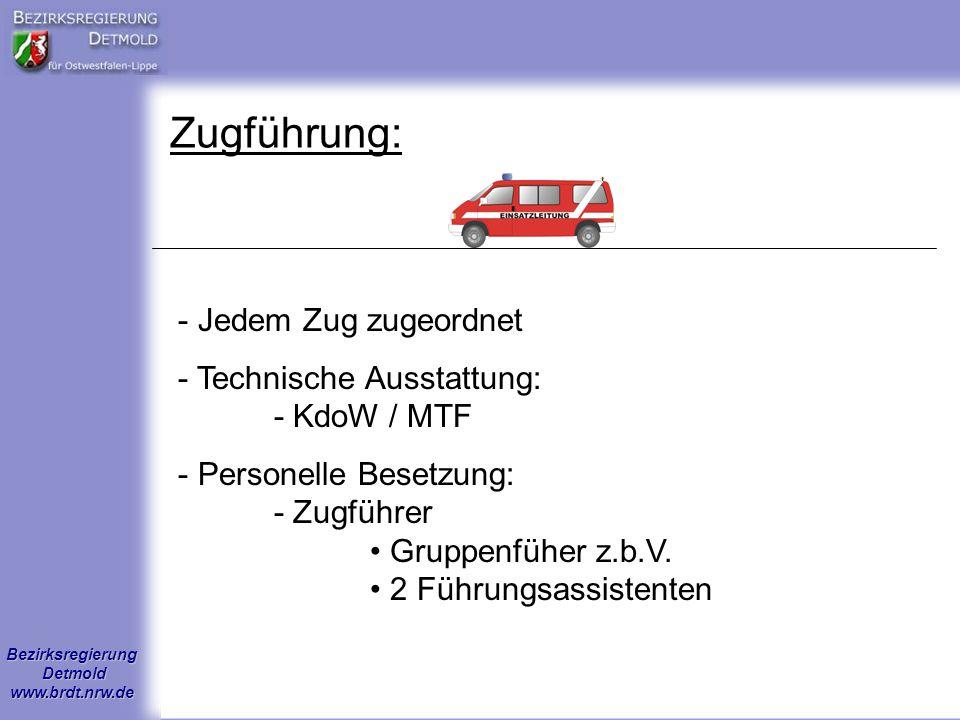 Bezirksregierung Detmold www.brdt.nrw.de Zugführung: - Jedem Zug zugeordnet - Technische Ausstattung: - KdoW / MTF - Personelle Besetzung: - Zugführer