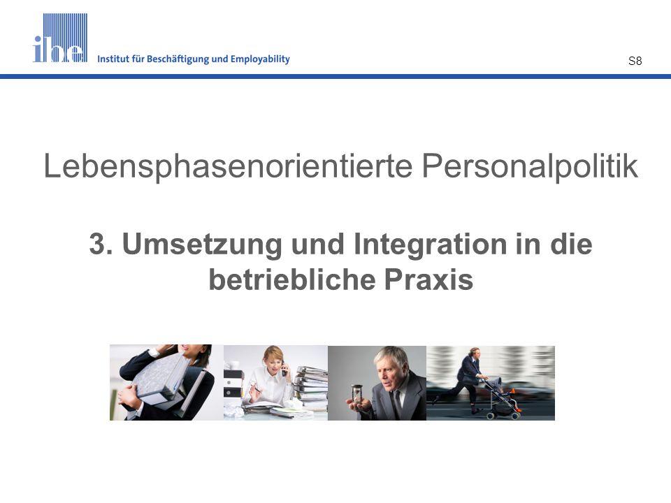 S8 Lebensphasenorientierte Personalpolitik 3. Umsetzung und Integration in die betriebliche Praxis