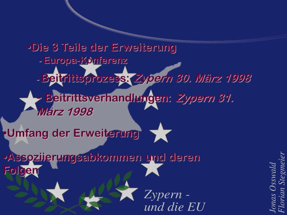 Die 3 Teile der ErweiterungDie 3 Teile der Erweiterung - Europa-Konferenz - Beitrittsprozess: Zypern 30. März 1998 - Beitrittsverhandlungen: Zypern 31