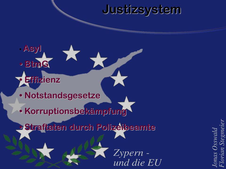 Justizsystem Asyl Asyl BtmG BtmG Effizienz Effizienz Notstandsgesetze Notstandsgesetze Korruptionsbekämpfung Korruptionsbekämpfung Straftaten durch Polizeibeamte Straftaten durch Polizeibeamte