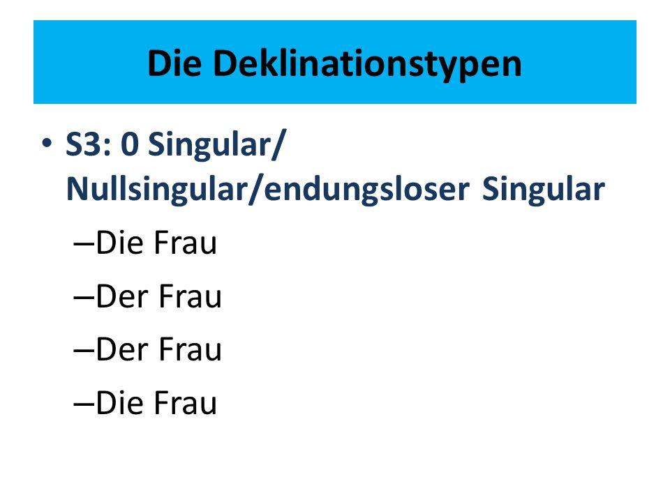 Die Deklinationstypen S3: 0 Singular/ Nullsingular/endungsloser Singular – Die Frau – Der Frau – Die Frau