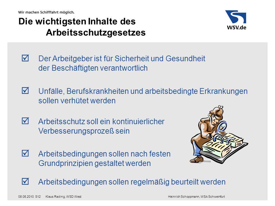 Klaus Rading, WSD West Heinrich Schoppmann, WSA Schweinfurt08.06.2010S12 Die wichtigsten Inhalte des Arbeitsschutzgesetzes  Der Arbeitgeber ist für S
