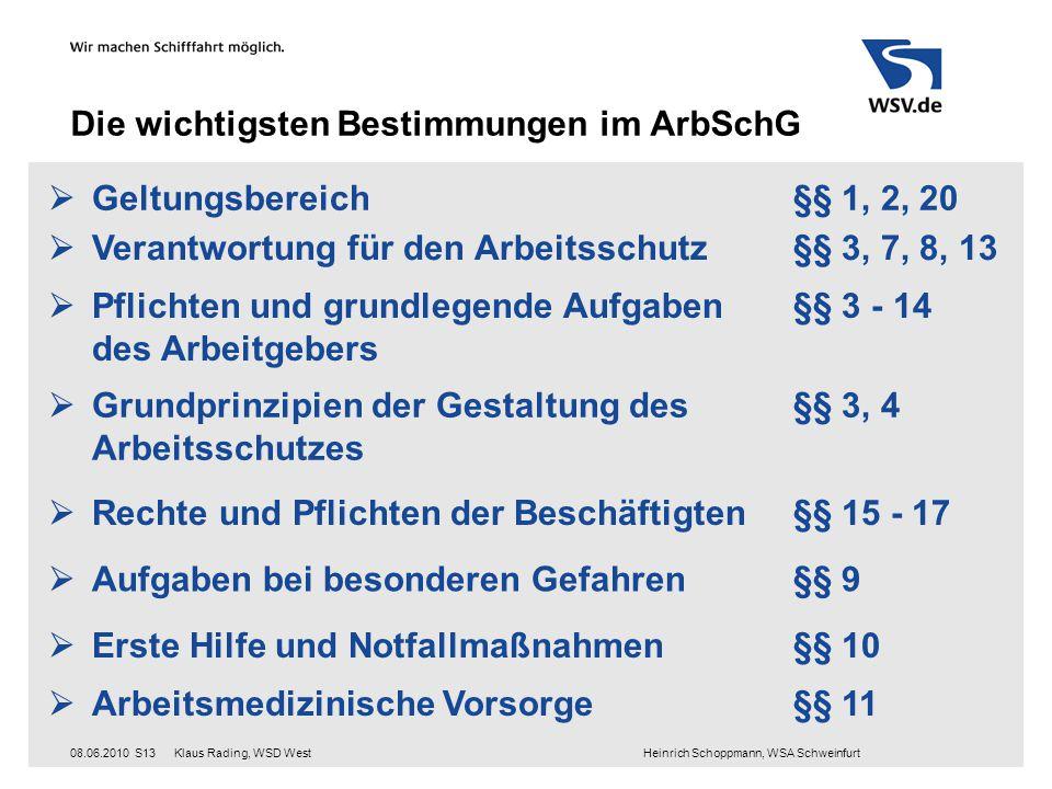 Klaus Rading, WSD West Heinrich Schoppmann, WSA Schweinfurt08.06.2010S13 Die wichtigsten Bestimmungen im ArbSchG  Geltungsbereich §§ 1, 2, 20  Veran