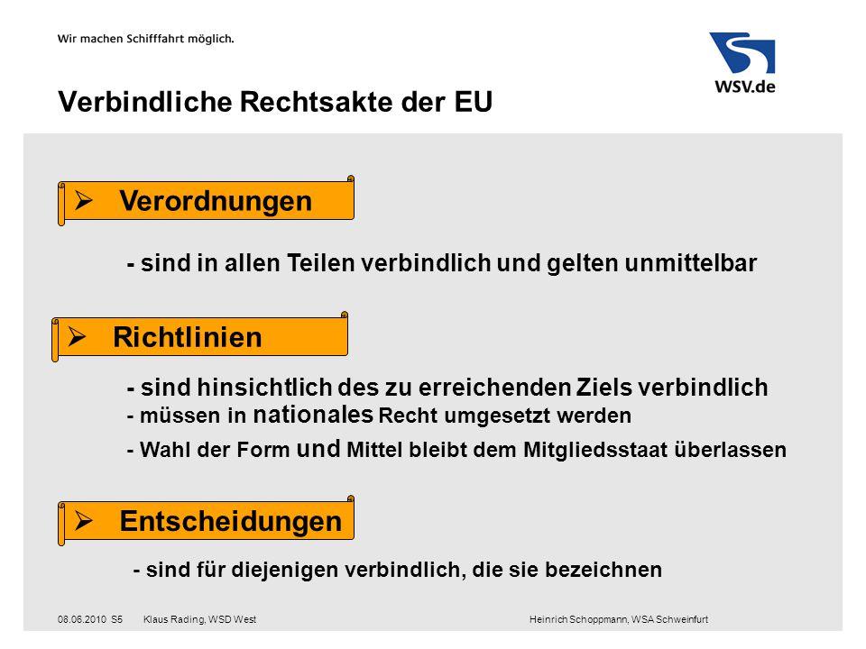 Klaus Rading, WSD West Heinrich Schoppmann, WSA Schweinfurt08.06.2010S5 Verbindliche Rechtsakte der EU  Verordnungen - sind in allen Teilen verbindli