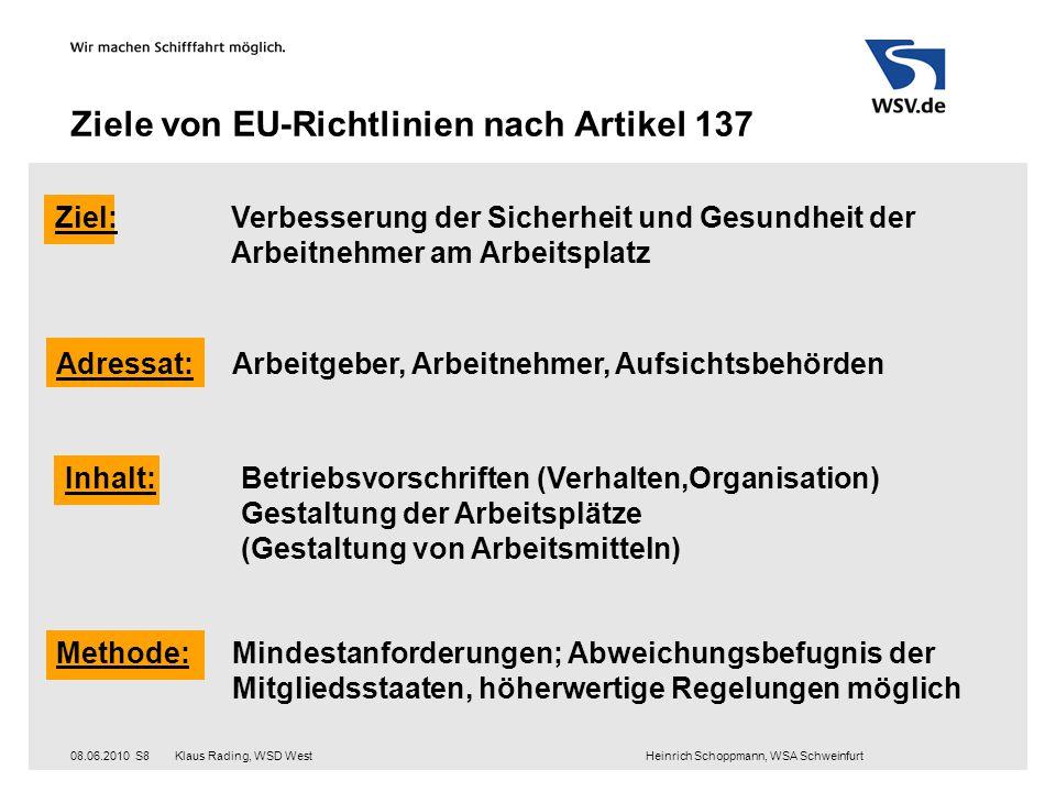 Klaus Rading, WSD West Heinrich Schoppmann, WSA Schweinfurt08.06.2010S8 Ziele von EU-Richtlinien nach Artikel 137 Ziel:Verbesserung der Sicherheit und