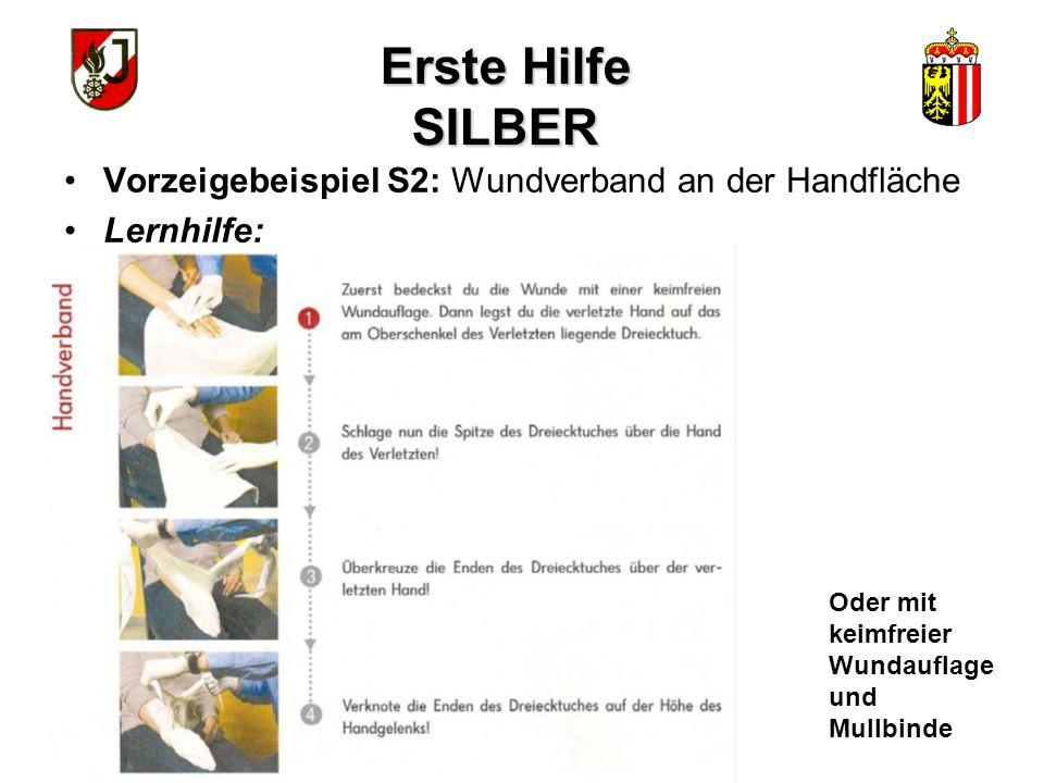 Erste Hilfe SILBER Vorzeigebeispiel S2: Wundverband an der Handfläche Lernhilfe: Oder mit keimfreier Wundauflage und Mullbinde