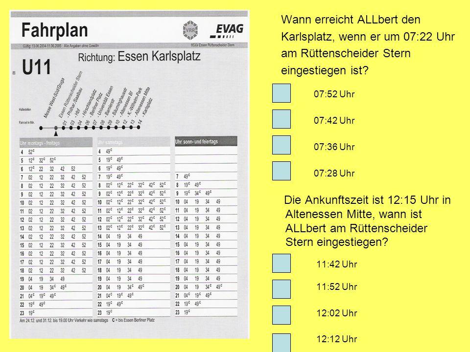 Wann erreicht ALLbert den Karlsplatz, wenn er um 07:22 Uhr am Rüttenscheider Stern eingestiegen ist? 07:52 Uhr 07:42 Uhr 07:36 Uhr 07:28 Uhr Die Ankun