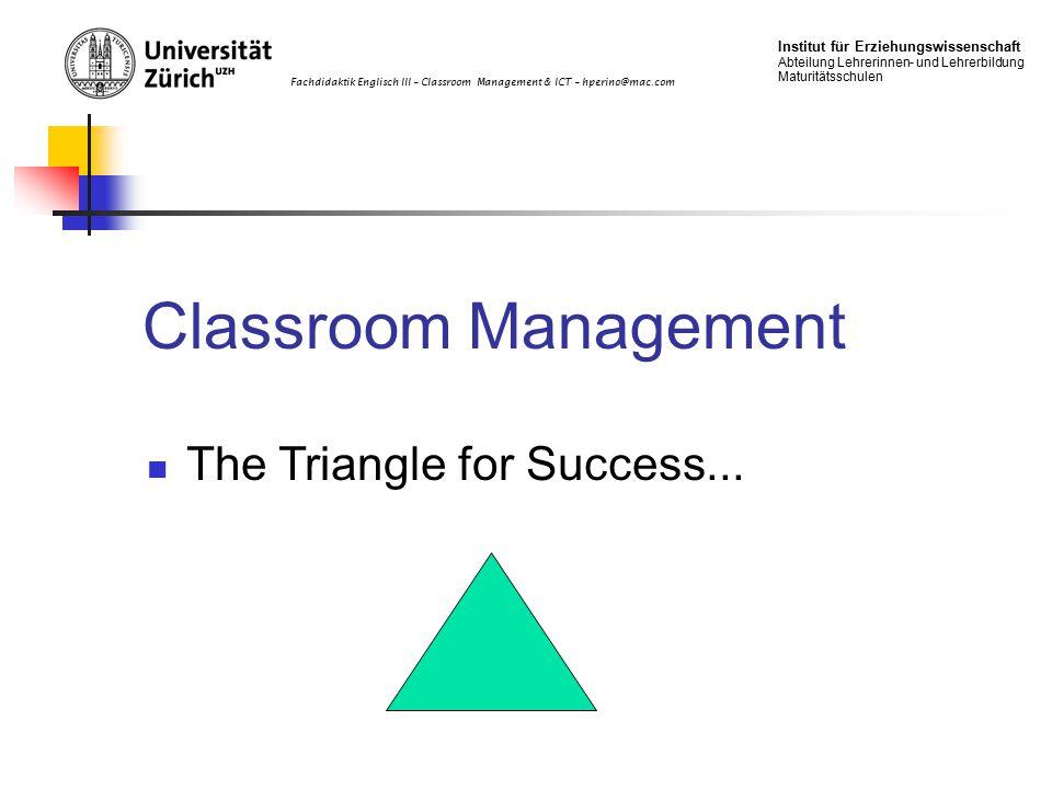Fachdidaktik Englisch III – Classroom Management & ICT – hperino@mac.com Institut für Erziehungswissenschaft Abteilung Lehrerinnen- und Lehrerbildung Maturitätsschulen Classroom Management The Triangle for Success...