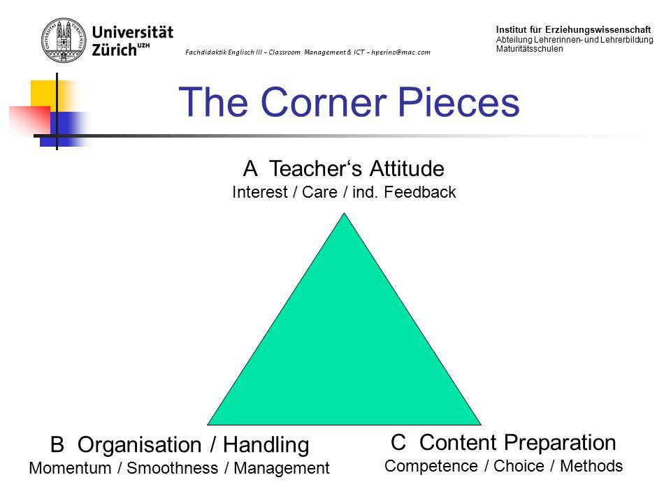 Fachdidaktik Englisch III – Classroom Management & ICT – hperino@mac.com Institut für Erziehungswissenschaft Abteilung Lehrerinnen- und Lehrerbildung Maturitätsschulen The Corner Pieces A Teacher's Attitude Interest / Care / ind.