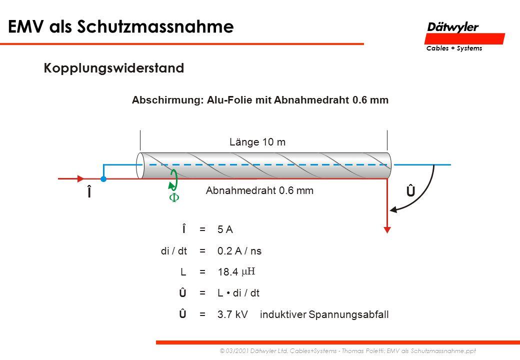 EMV als Schutzmassnahme © 03/2001 Dätwyler Ltd. Cables+Systems - Thomas Poletti; EMV als Schutzmassnahme.ppt Cables + Systems Kopplungswiderstand Läng