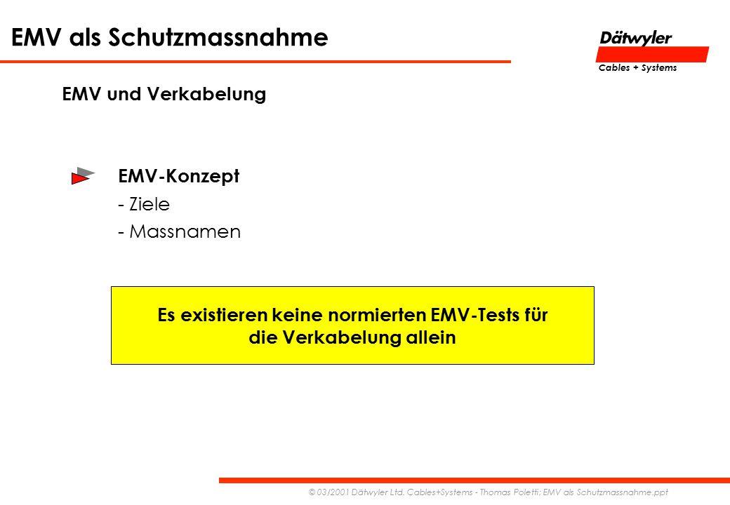 EMV als Schutzmassnahme © 03/2001 Dätwyler Ltd. Cables+Systems - Thomas Poletti; EMV als Schutzmassnahme.ppt Cables + Systems EMV und Verkabelung EMV-