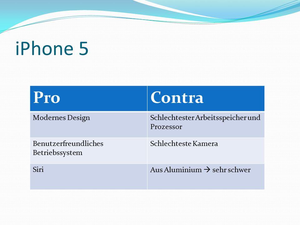 iPhone 5 ProContra Modernes DesignSchlechtester Arbeitsspeicher und Prozessor Benutzerfreundliches Betriebssystem Schlechteste Kamera SiriAus Aluminium  sehr schwer