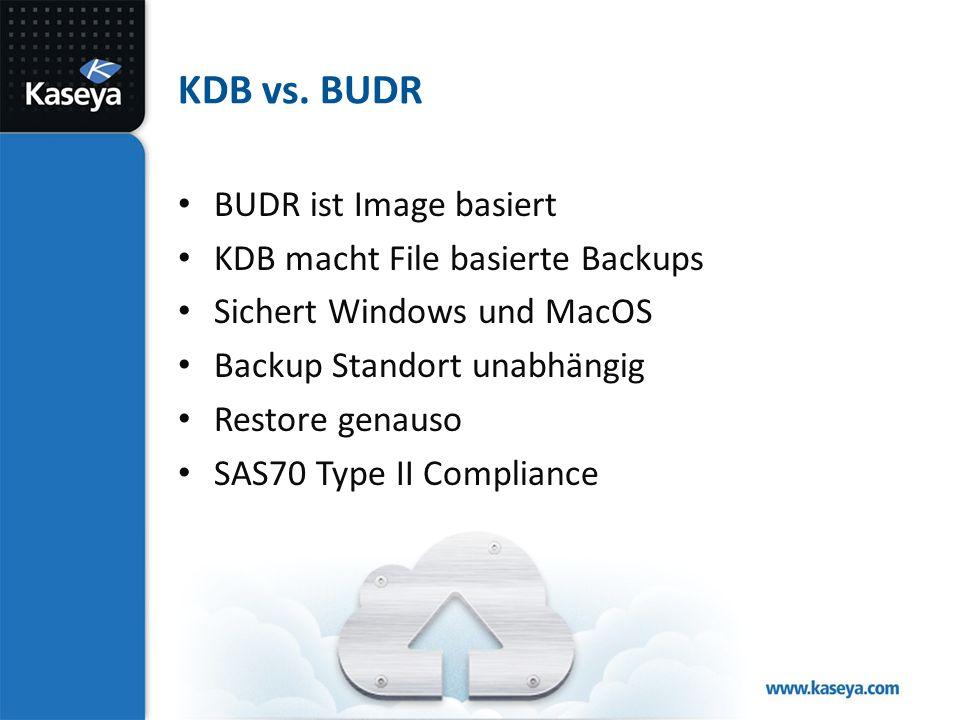 KDB vs. BUDR BUDR ist Image basiert KDB macht File basierte Backups Sichert Windows und MacOS Backup Standort unabhängig Restore genauso SAS70 Type II