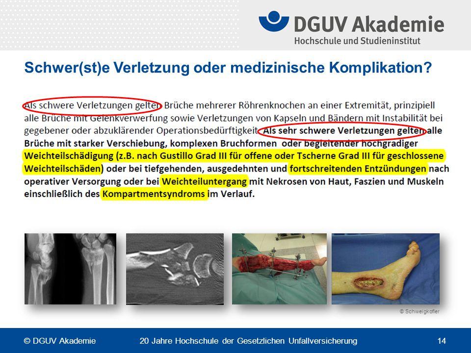Schwer(st)e Verletzung oder medizinische Komplikation? © Schweigkofler © DGUV Akademie 20 Jahre Hochschule der Gesetzlichen Unfallversicherung 14