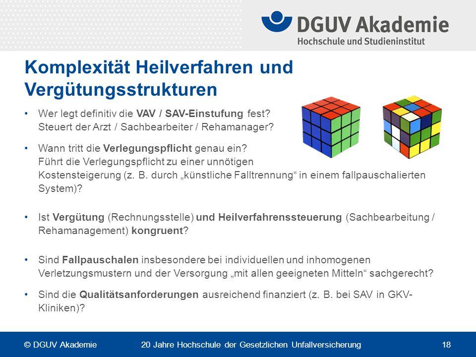 Komplexität Heilverfahren und Vergütungsstrukturen Wer legt definitiv die VAV / SAV-Einstufung fest? Steuert der Arzt / Sachbearbeiter / Rehamanager?