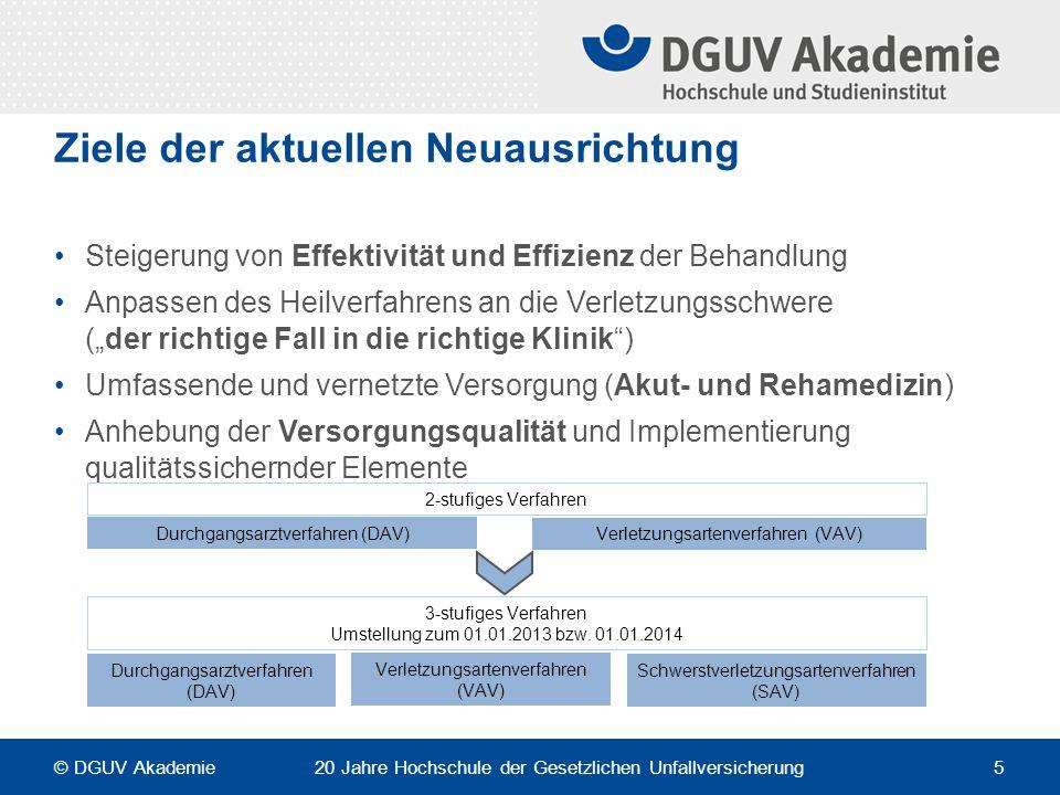 """Ziele der aktuellen Neuausrichtung Steigerung von Effektivität und Effizienz der Behandlung Anpassen des Heilverfahrens an die Verletzungsschwere (""""de"""