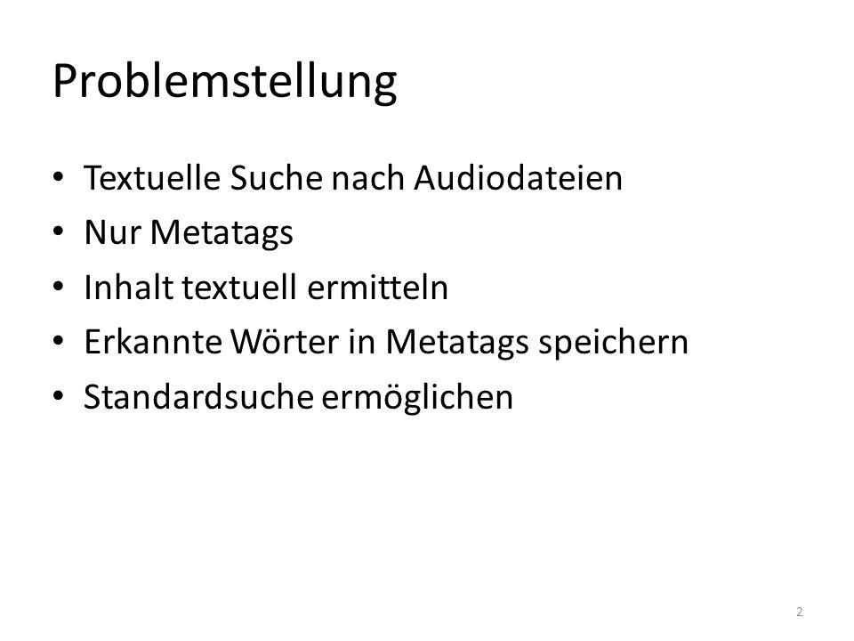 Problemstellung Textuelle Suche nach Audiodateien Nur Metatags Inhalt textuell ermitteln Erkannte Wörter in Metatags speichern Standardsuche ermöglichen 2