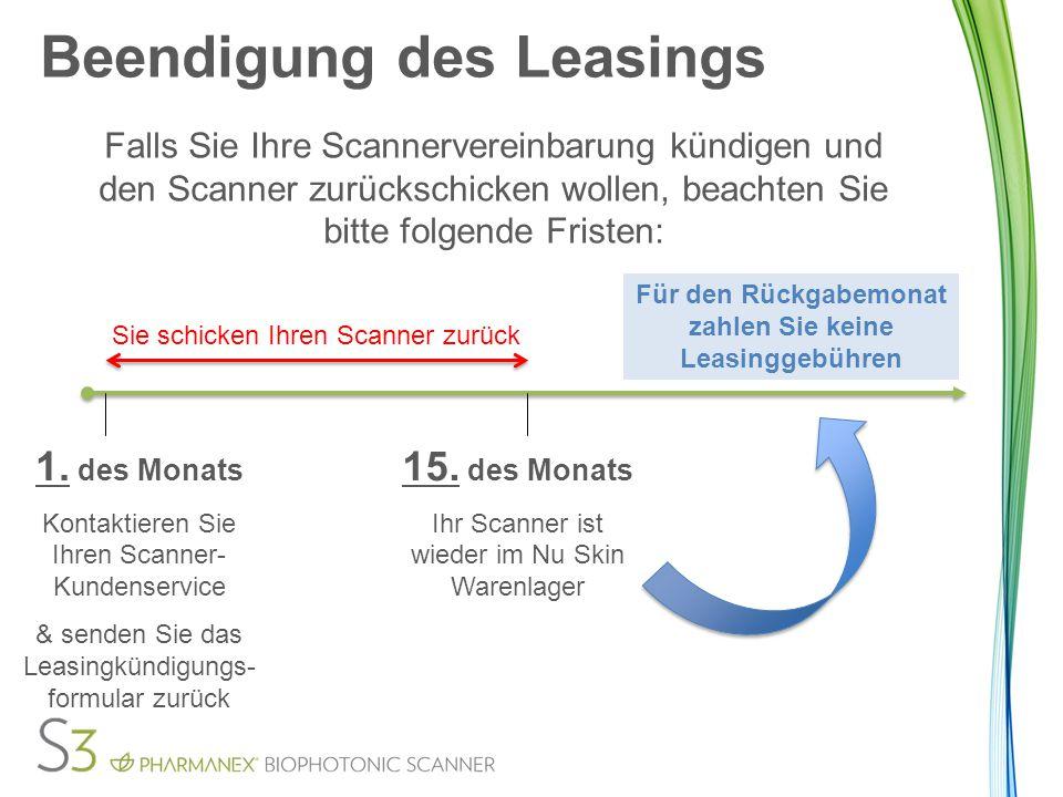 Beendigung des Leasings Falls Sie Ihre Scannervereinbarung kündigen und den Scanner zurückschicken wollen, beachten Sie bitte folgende Fristen: 1.