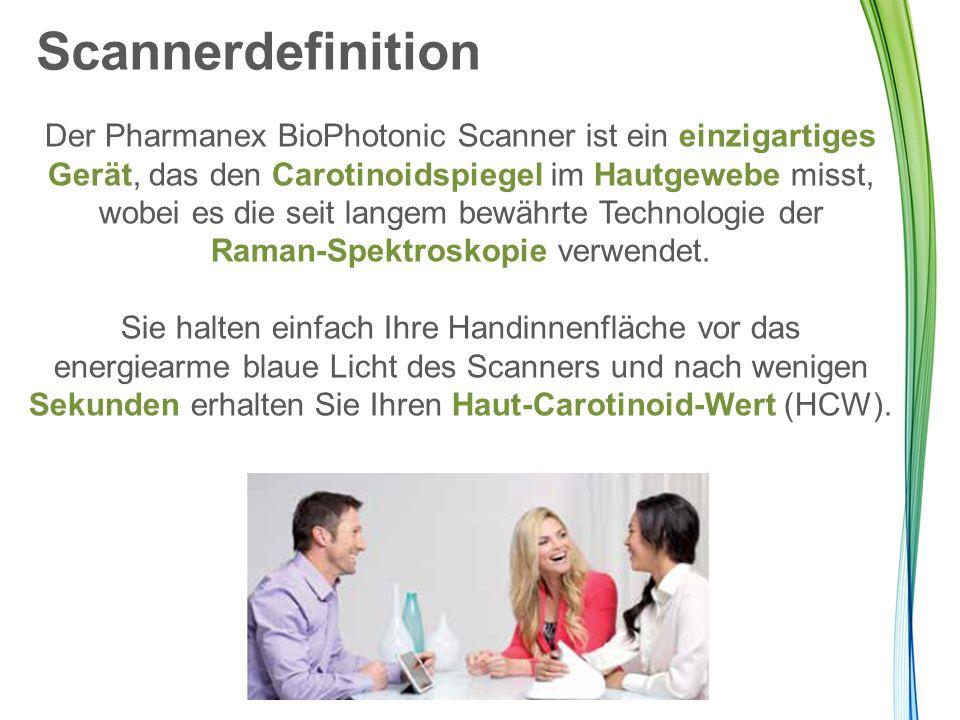 Scannerdefinition Der Pharmanex BioPhotonic Scanner ist ein einzigartiges Gerät, das den Carotinoidspiegel im Hautgewebe misst, wobei es die seit lang