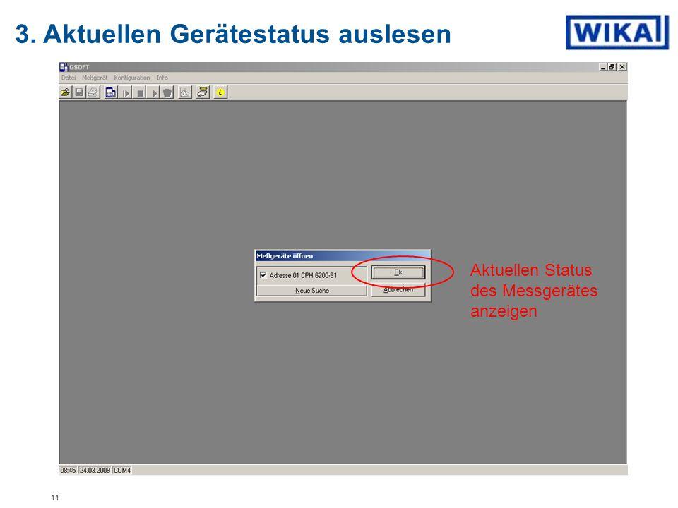 3. Aktuellen Gerätestatus auslesen Aktuellen Status des Messgerätes anzeigen 11