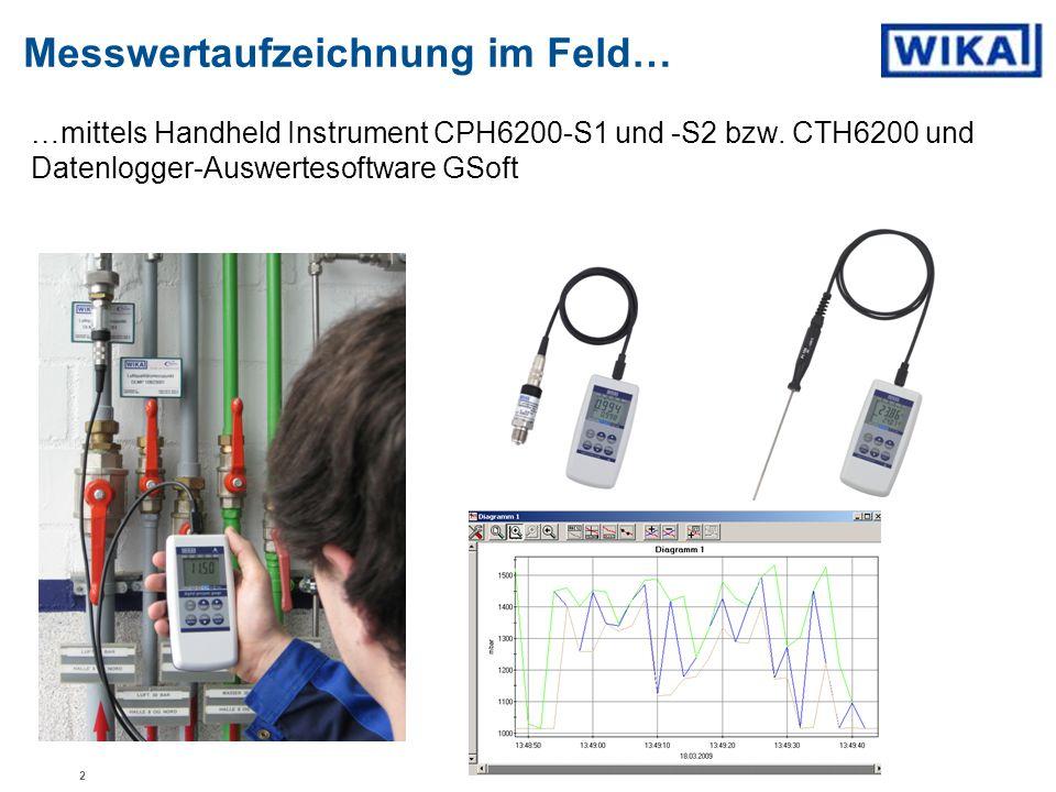 Messwertaufzeichnung im Feld… …mittels Handheld Instrument CPH6200-S1 und -S2 bzw. CTH6200 und Datenlogger-Auswertesoftware GSoft 2