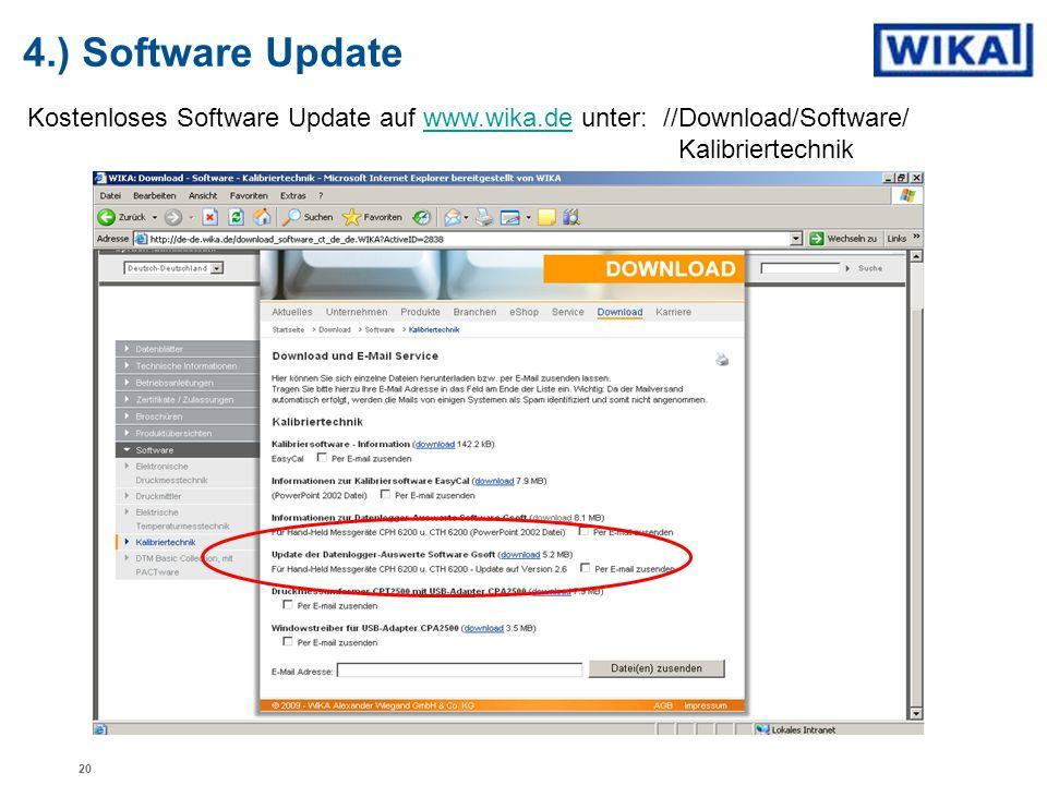 4.) Software Update Kostenloses Software Update auf www.wika.de unter: //Download/Software/ Kalibriertechnikwww.wika.de 20
