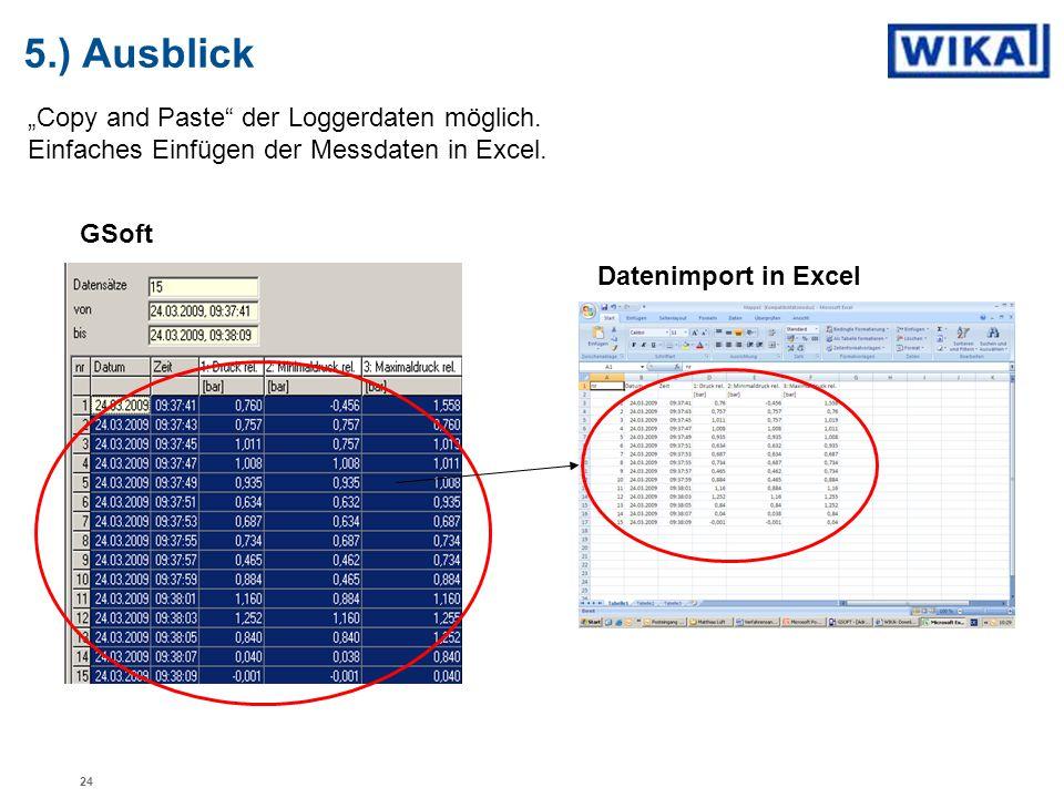 """""""Copy and Paste"""" der Loggerdaten möglich. Einfaches Einfügen der Messdaten in Excel. 5.) Ausblick GSoft Datenimport in Excel 24"""