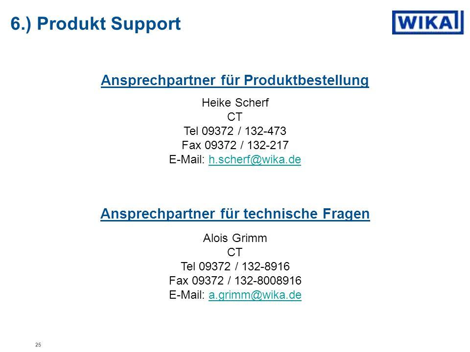 Ansprechpartner für Produktbestellung Heike Scherf CT Tel 09372 / 132-473 Fax 09372 / 132-217 E-Mail: h.scherf@wika.deh.scherf@wika.de Alois Grimm CT