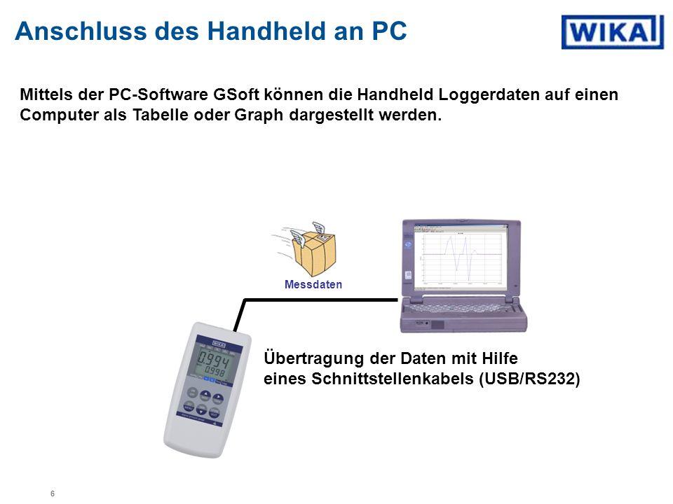 Mittels der PC-Software GSoft können die Handheld Loggerdaten auf einen Computer als Tabelle oder Graph dargestellt werden. Anschluss des Handheld an