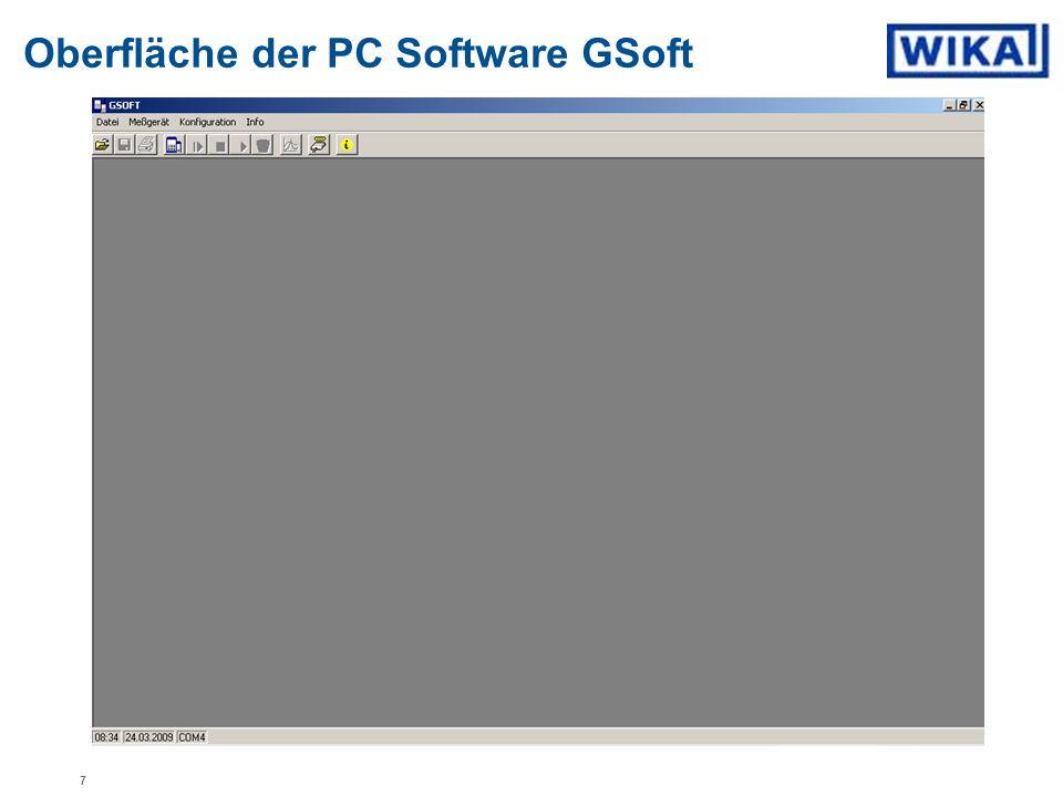 Oberfläche der PC Software GSoft 7