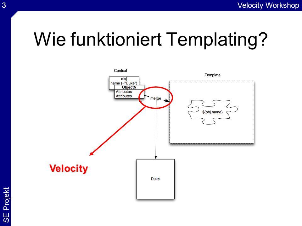 Velocity Workshop SE Projekt 44 Eclipse: Velocity Plugin unter: http://veloedit.sourceforge.nethttp://veloedit.sourceforge.net Unterstützt beim Bearbeiten von.vm Dateien –Syntax Highlighting –Source Insight (auch bei eigenen Makros) –Strukturansicht –...