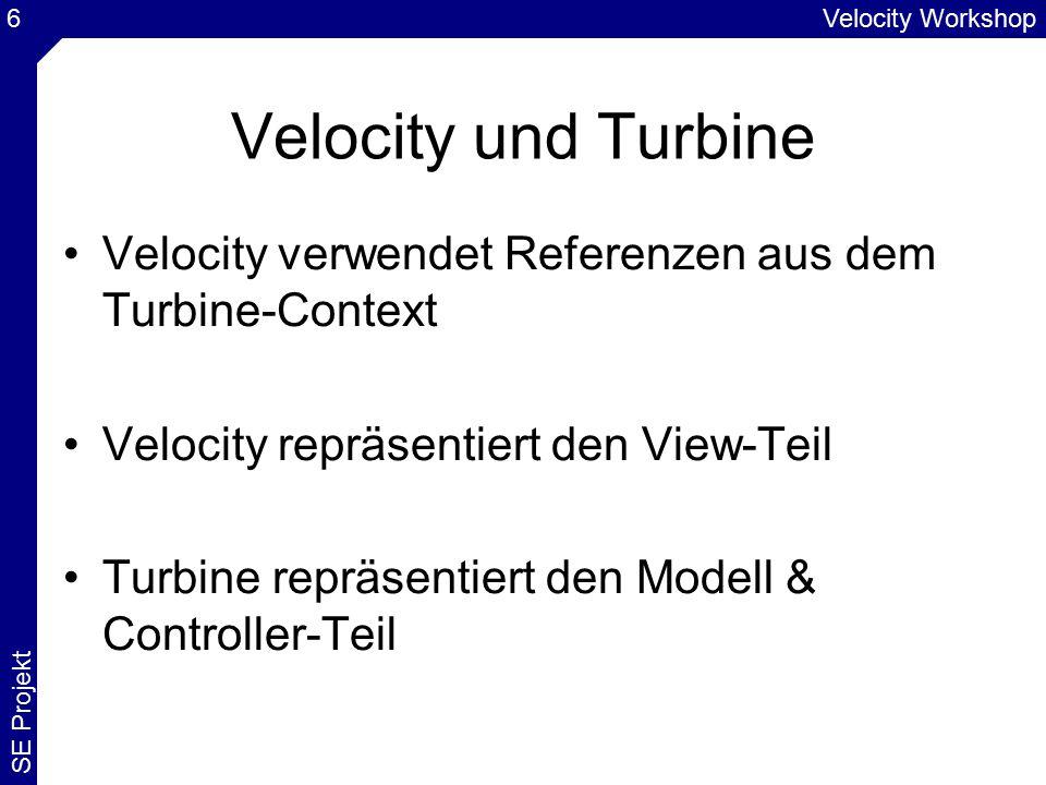 Velocity Workshop SE Projekt 6 Velocity und Turbine Velocity verwendet Referenzen aus dem Turbine-Context Velocity repräsentiert den View-Teil Turbine repräsentiert den Modell & Controller-Teil